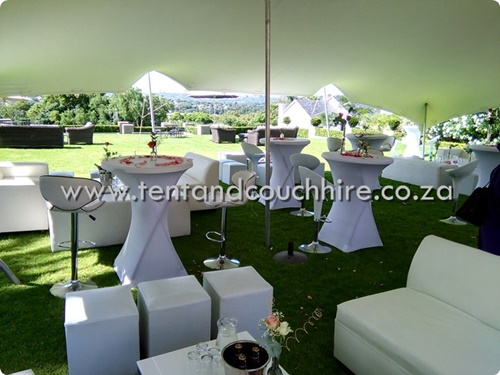 Tent and couch hire sa pty ltd stretch tent white for Cocktail tables to hire in cape town